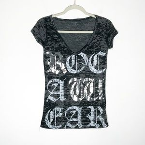 RocaWear Burn Out T-Shirt Junior Small Black Gray